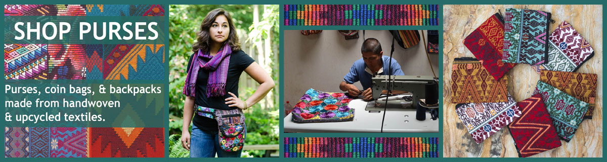 Purses & backpacks made from handwoven & upcycled textiles.