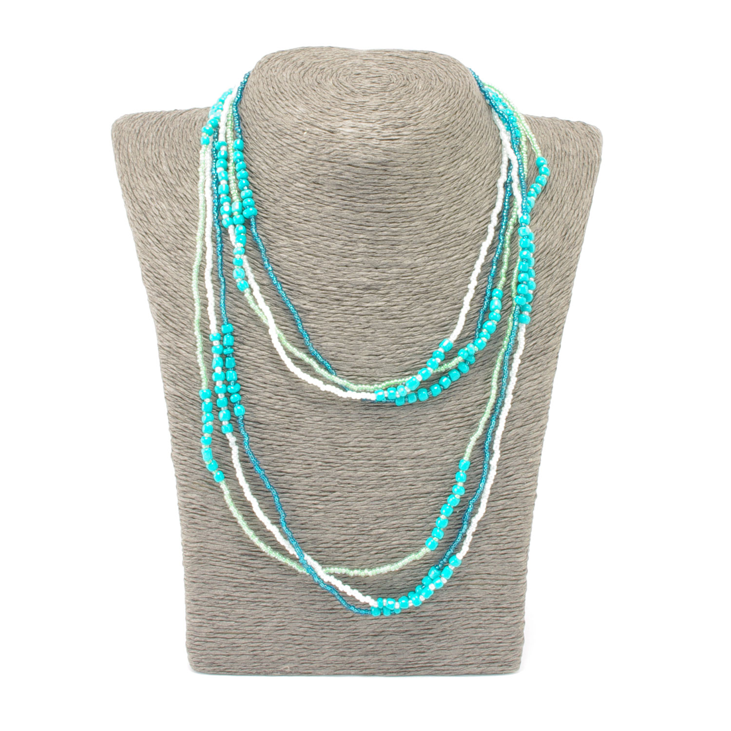 Trio of Hope Necklace in Turquoise Lime worn layered