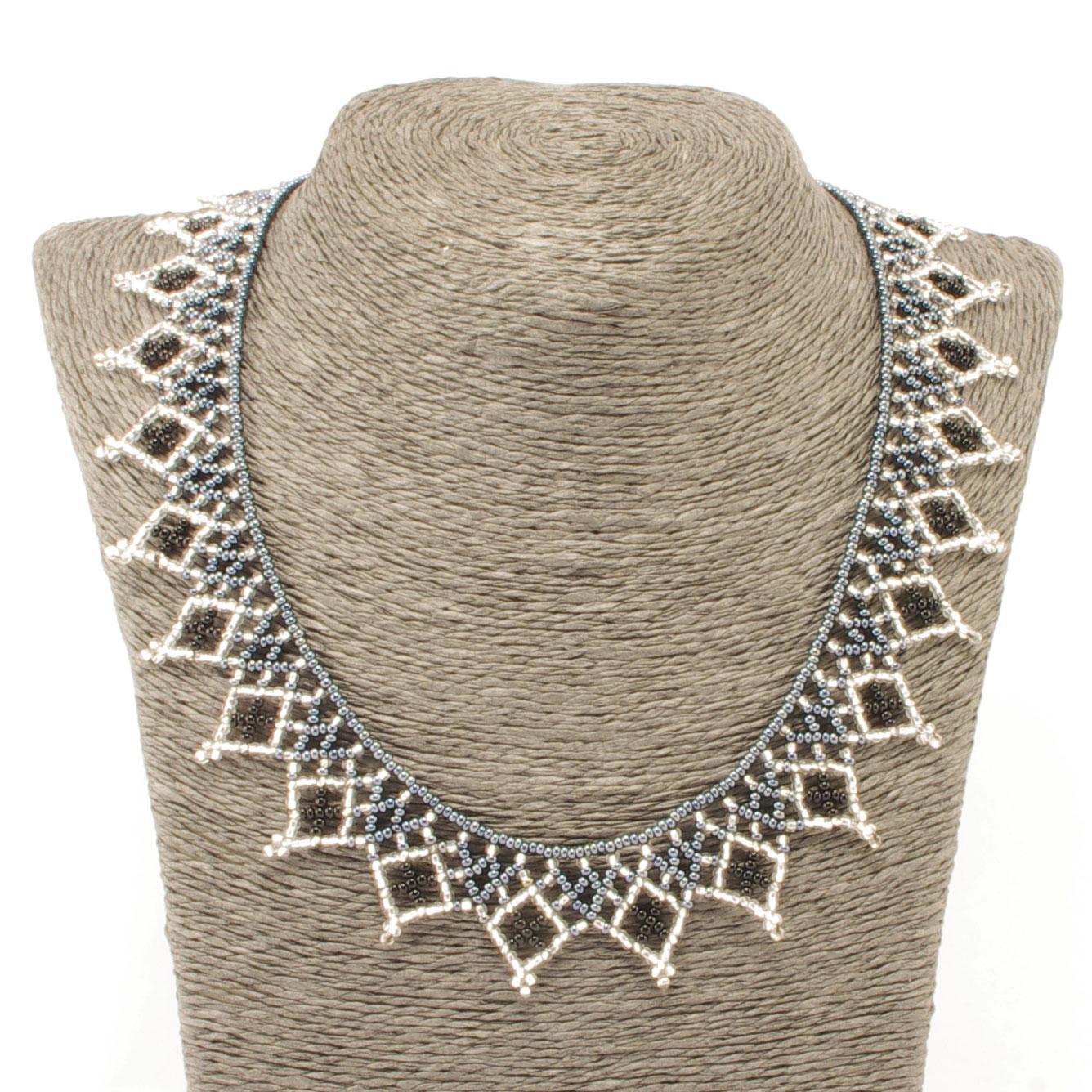 Fair Trade Guatemalan Beaded Volcano Necklace Gray