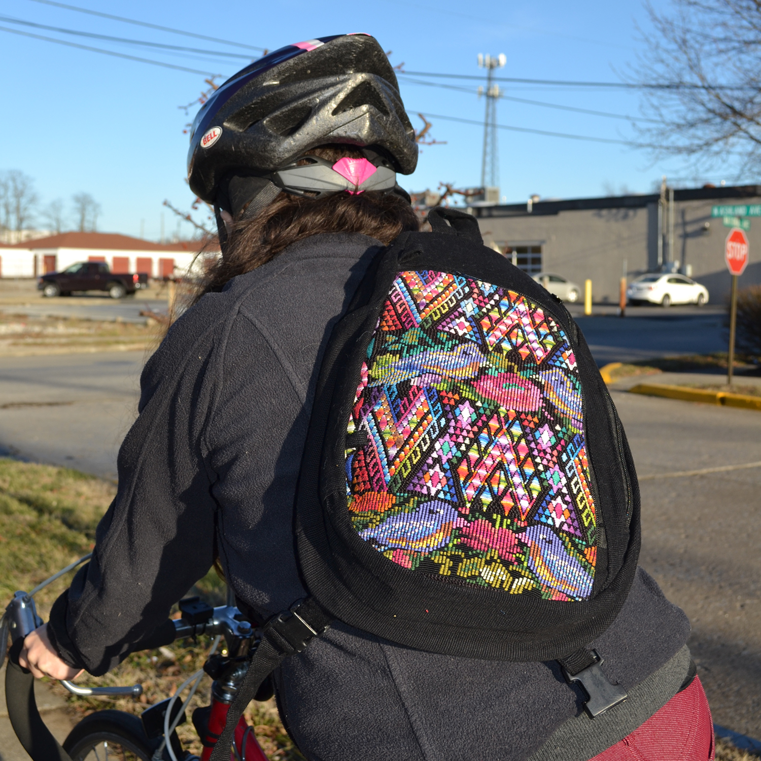Bike messenger backpack on a cyclist