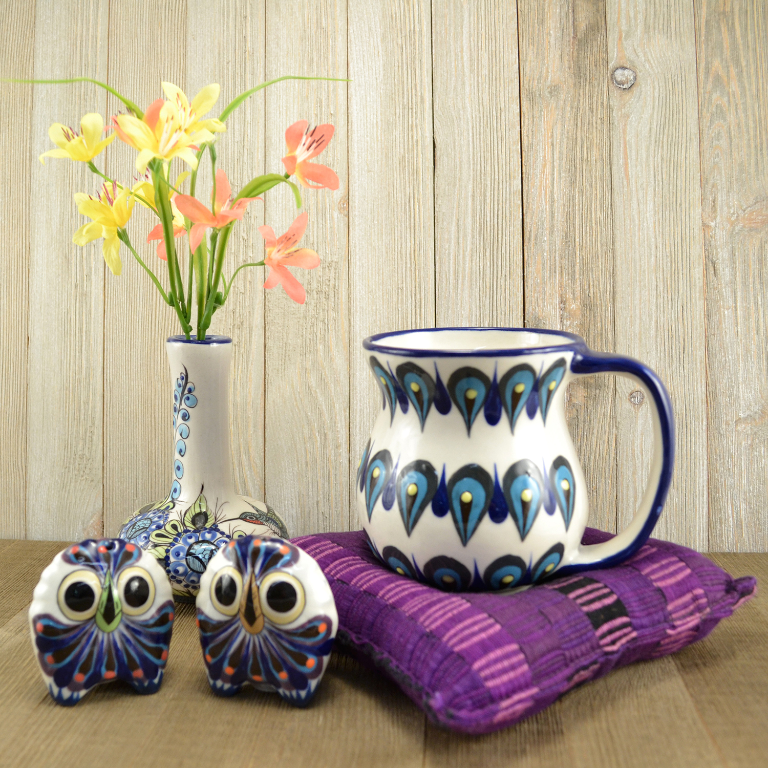 Cup Warmer/Trivet with San Antonio Coffee Mug, Owl Salt and Pepper Shakers, and Wild Bird Bud Vase