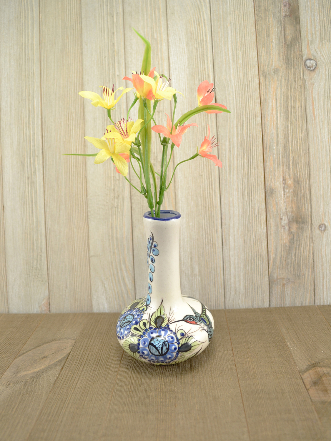 Wild Bird Bud Vase with flowers