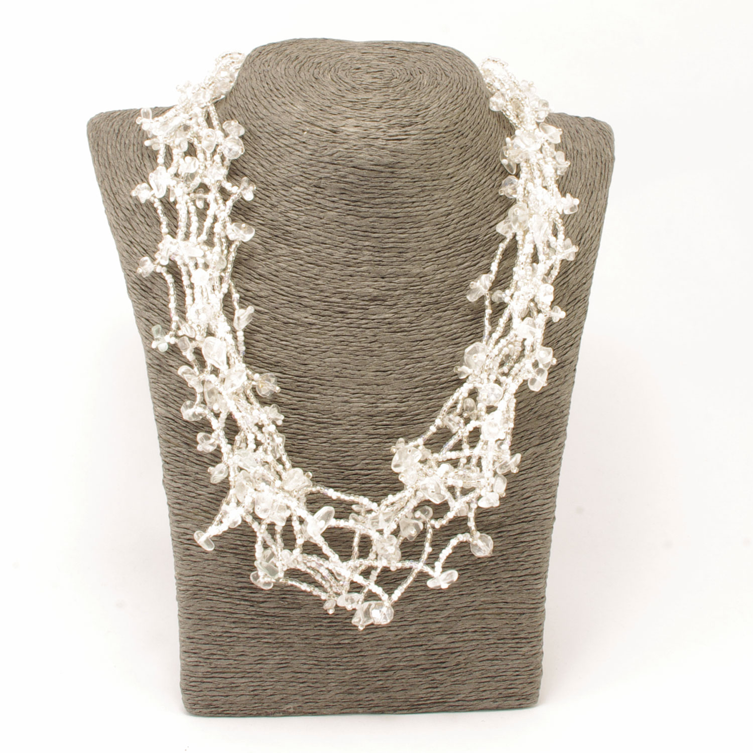 Fair Trade Guatemalan Handmade Chunky Necklace Silver White