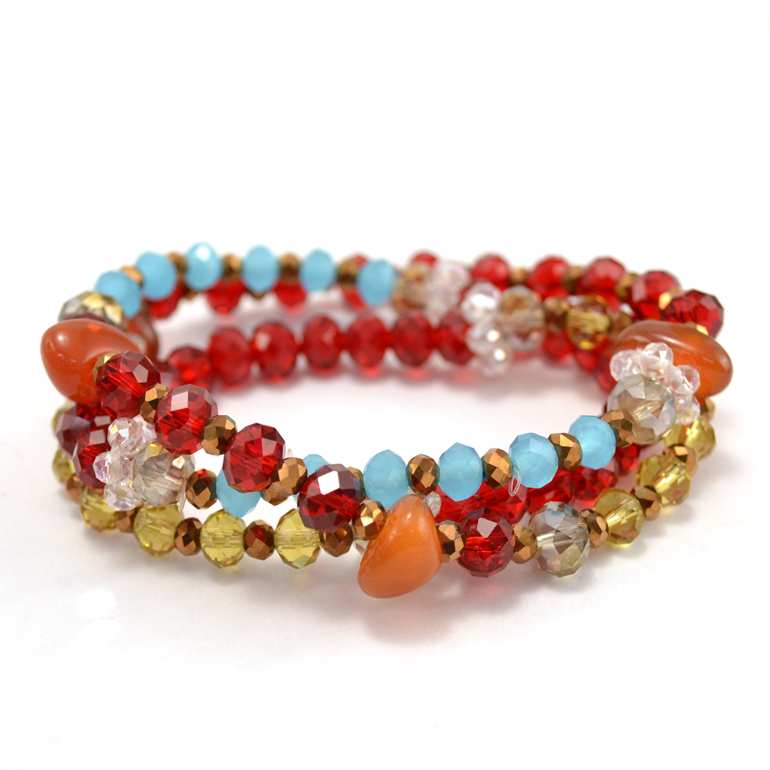 Vintage Crystal Wrap Bracelet in red multi