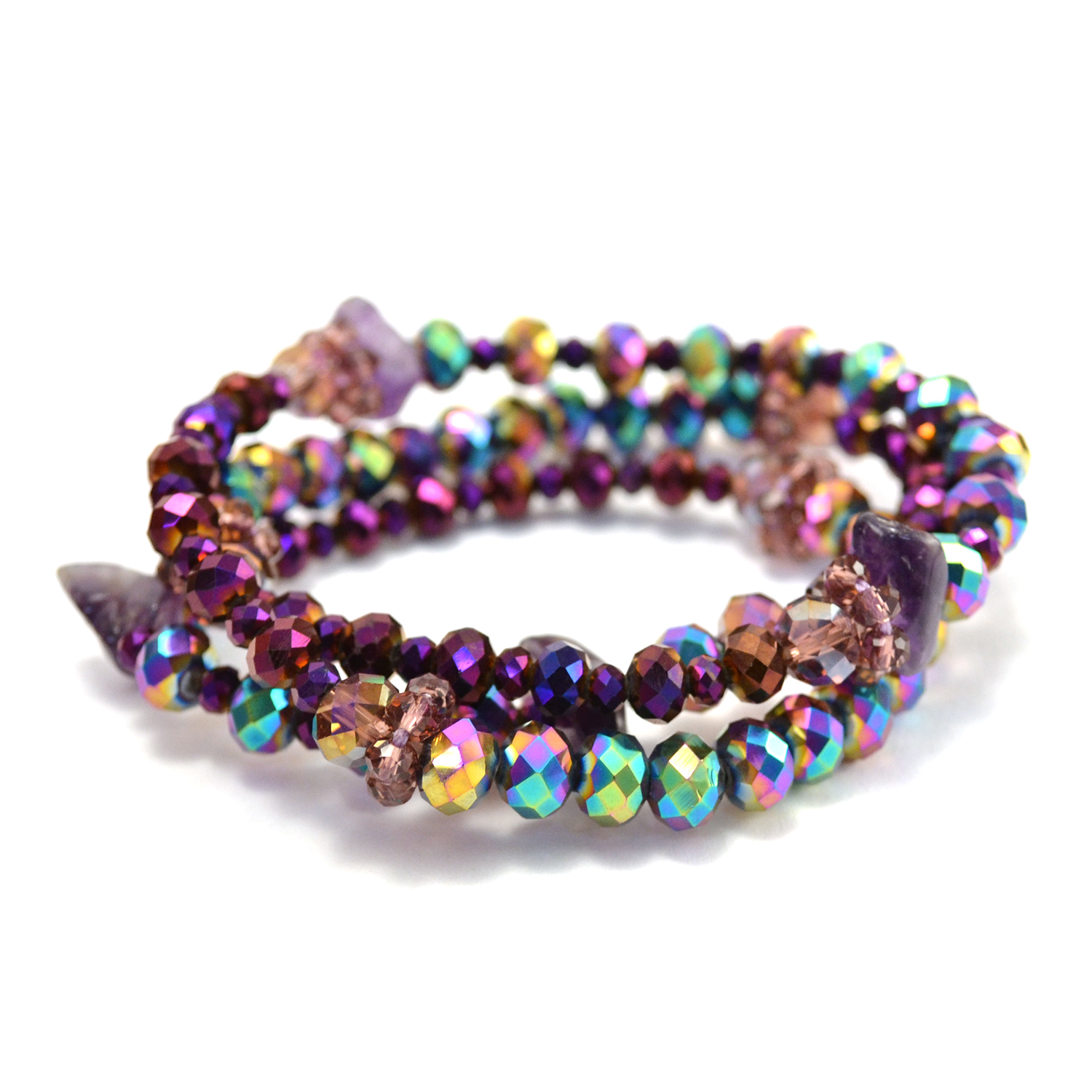 Vintage Crystal Wrap Bracelet in purple