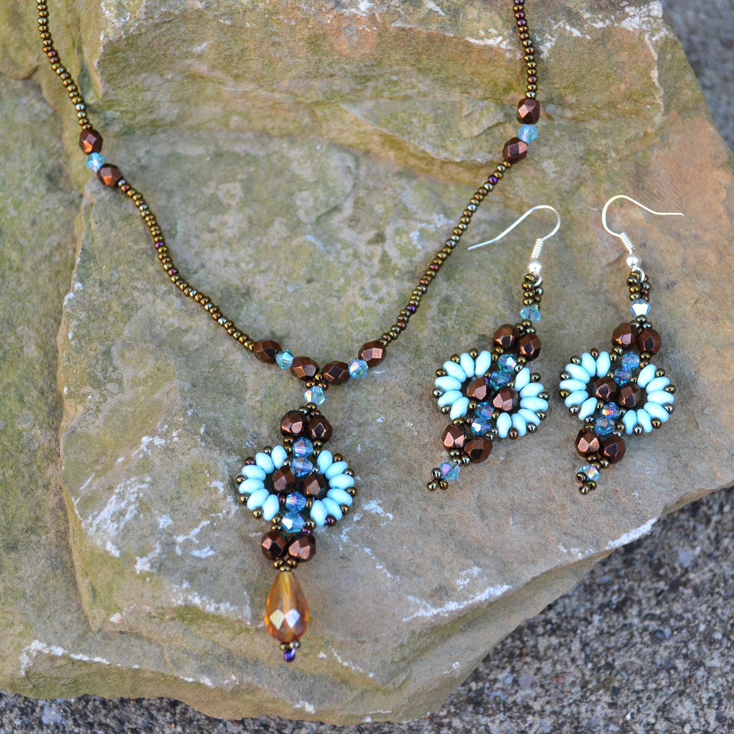 Quetzal Necklace and Quetzal Earrings in turquoise brown