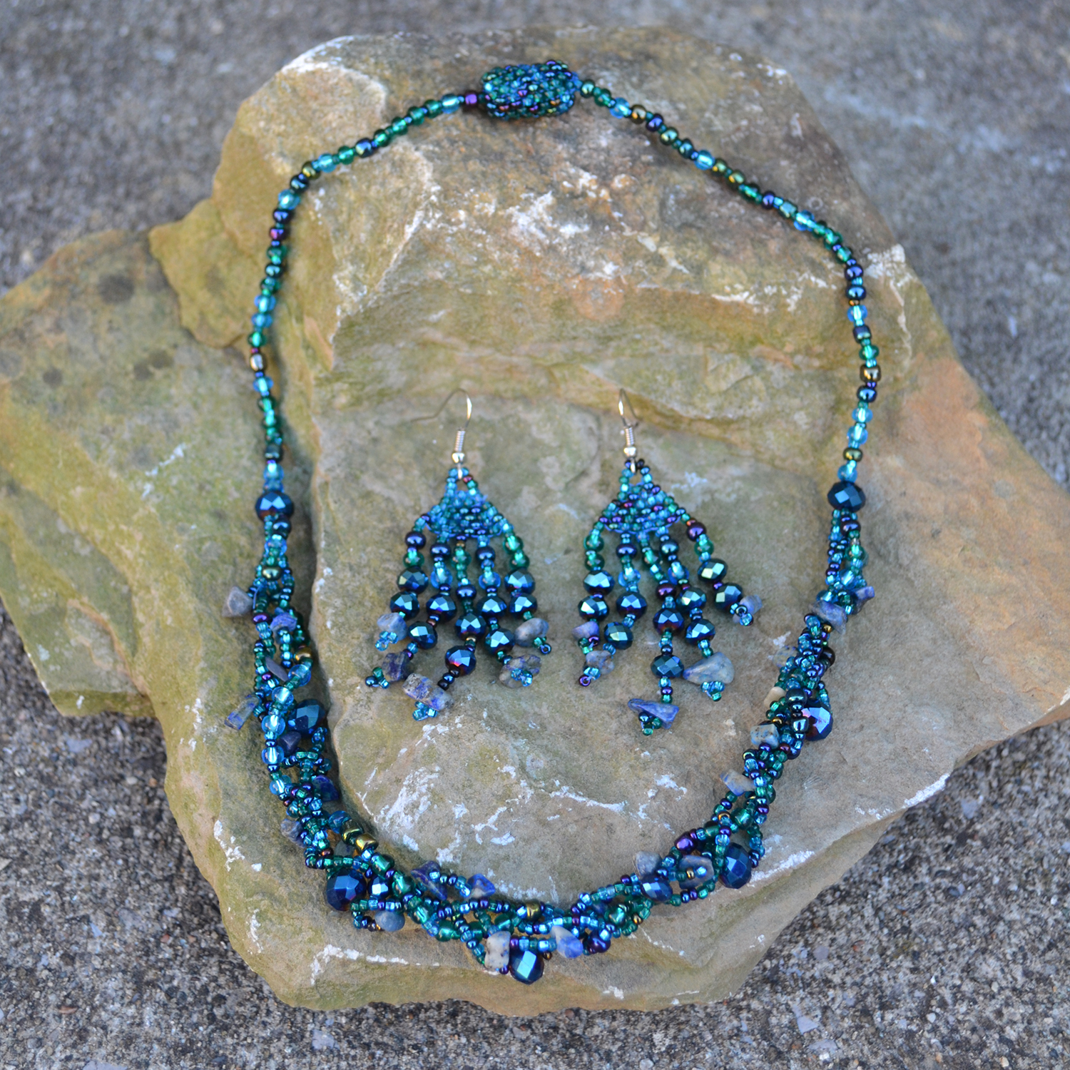 Braided Necklace and Feather Stone Earrings in ocean