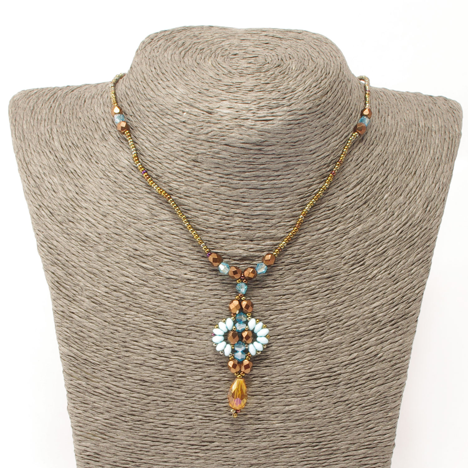 Quetzal Necklace in turquoise brown