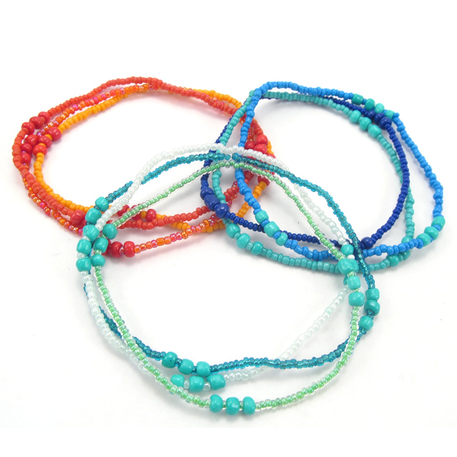 Trio of Hope Anklet in Naranja, Azul, and Verde
