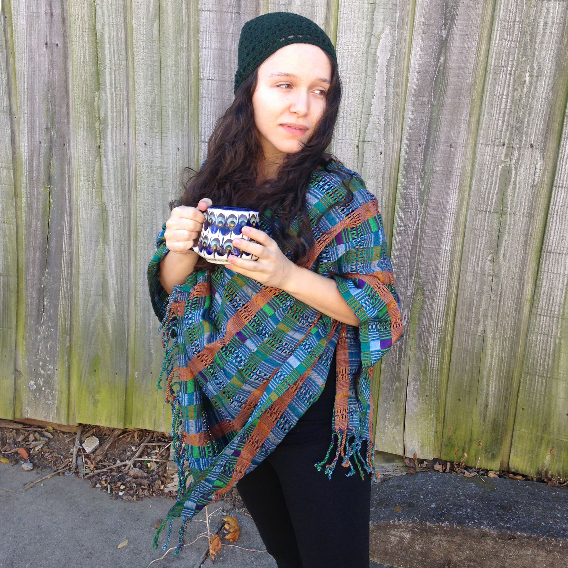 San Juan Poncho in Blue Multi