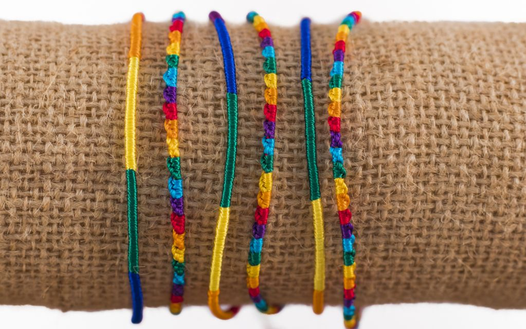 Rainbow Silk Friendship Bracelet handmade in Guatemala