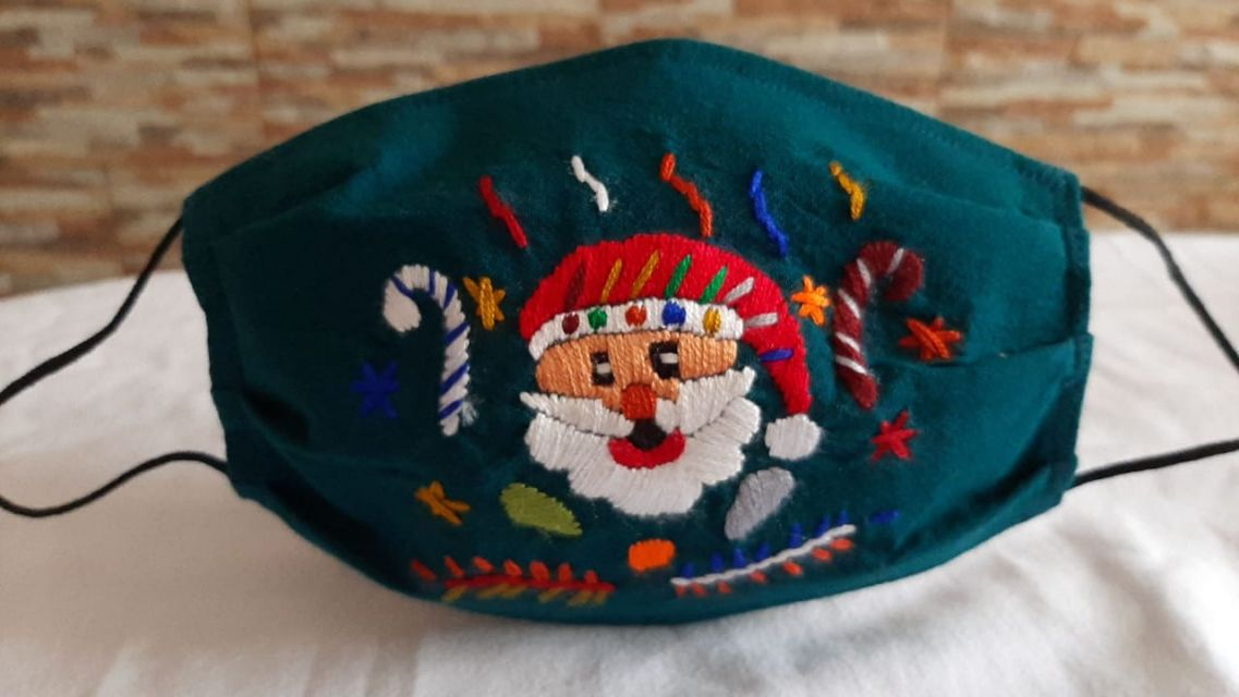 Holiday hand embroidered Face Mask Fair Trade Guatemala