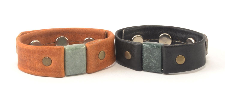 Fair Trade Handmade Rectangle Jade & Leather Bracelet
