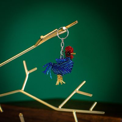 rooster beaded keychain handmade fair trade guatemalan