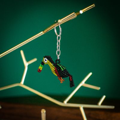 fair trade toucan hand beaded keychain guatemalan