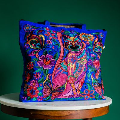 embroidered cat tote bag fair trade handmade Guatemalan