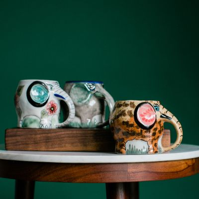 Lucia's Imports Fair Trade Handmade Ceramic Elephant Mug from Guatemala