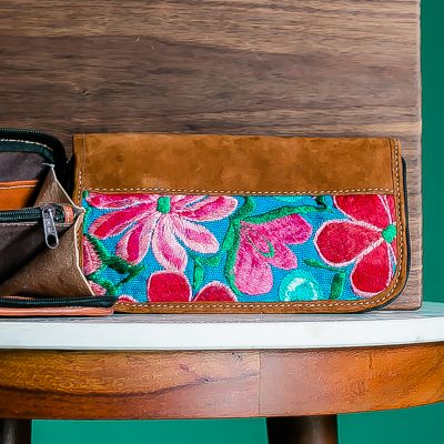 suede leather embroidered floral wristlet handmade guatemalan