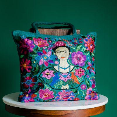 Frida Kahlo embroidered tote bag
