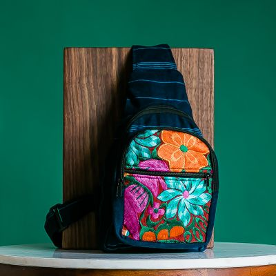 floral crossbody backpack embroidered guatemalan fair trade