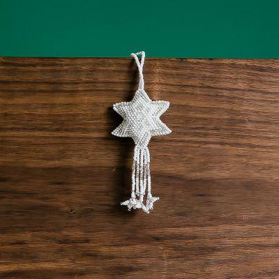 Silver White Star Beaded Guatemalan fair trade ornament