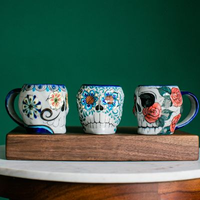 Lucia's Imports Wholesale Handmade Fair Trade Guatemalan Ceramic Sugar Skull Skeleton Mugs