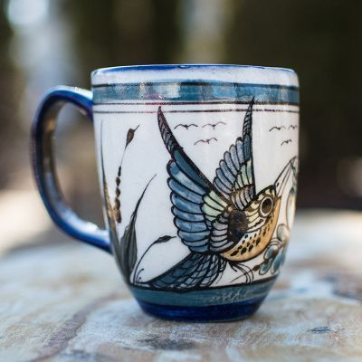 Fair Trade Handmade Guatemalan Ceramic Wild Bird Latte Coffee Cup