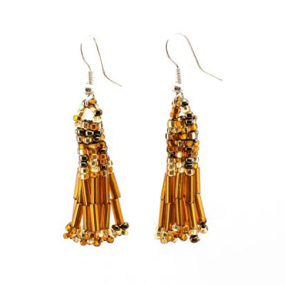 Handmade Guatemalan Fair Trade Glass Burnt Orange Earrings