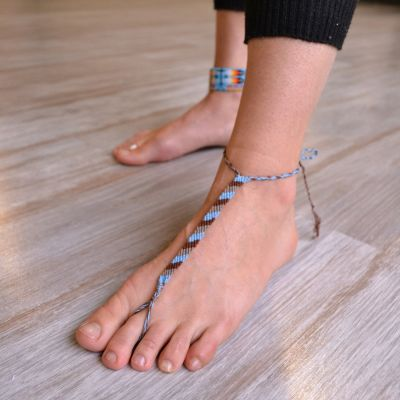 Friendship Anklet worn as a barefoot sandal