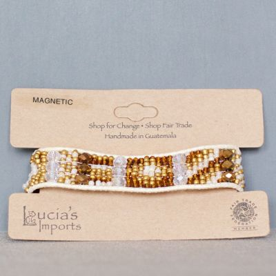 Lucia's World Emporium fair trade handmade Guatemalan beaded Eros Bracelet in Gold front view