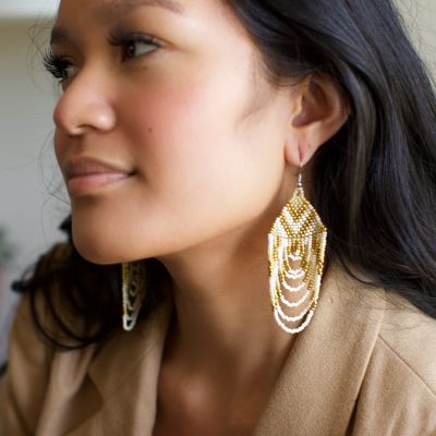 Handmade Guatemalan cascade beaded fair trade earring