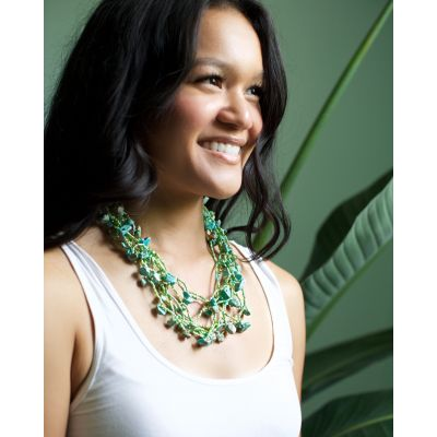 Fair Trade Guatemalan Handmade Chunky Necklace Seafoam Turquoise