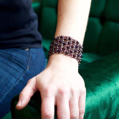 Fair Trade Handmade Guatemalan Beaded Electric Bracelet with Crystals