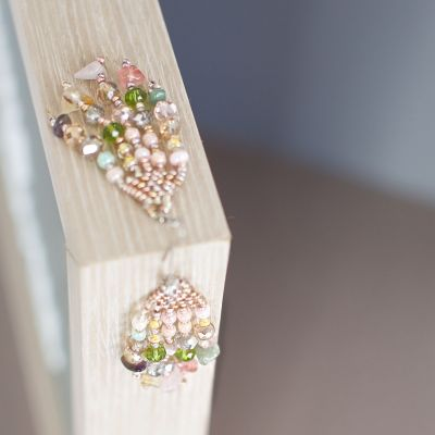 New! Feather Stone Earrings in Pastel Fair Trade Handmade Guatemalan Earrings