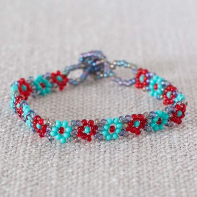 Hand beaded daisy chain fair trade bracelet for kids and tweens