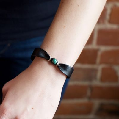Fair Trade Handmade Guatemalan Leather Bracelet with Jade Bead