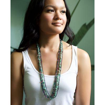Fair Trade Handmade Beaded Guatemalan Long Rock Candy Necklace Jewelry