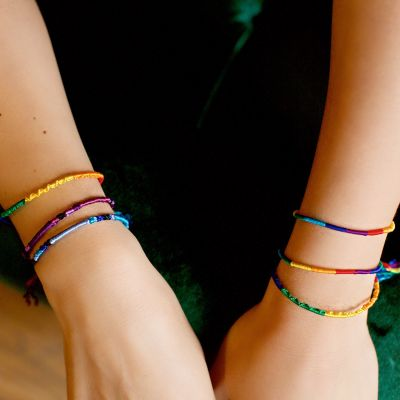 Lucia's Imports Fair Trade Handmade Guatemalan Round Silk Friendship Bracelet in Multi Color