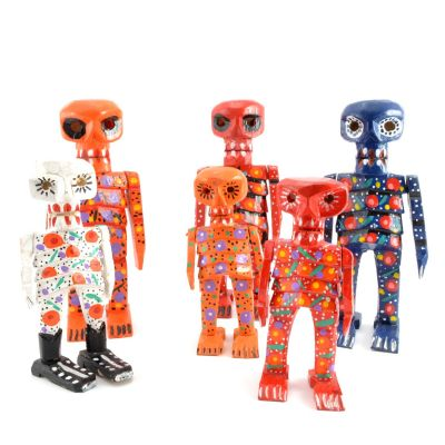 Handmade Hand-Carved Fair Trade Wood Skeleton Statue Figurine Hand Painted Designs from Guatemala