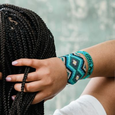 Guatemalan Fair Trade handmade jewelry, wide cuff bracelet