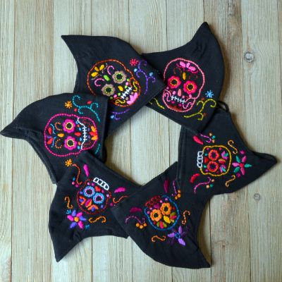 Sugar Skull hand Embroidered Face Mask Fair Trade