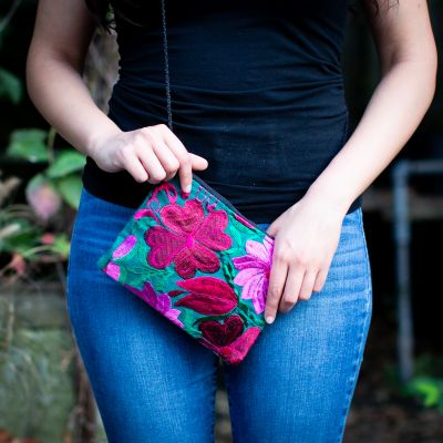 Fair Trade Embroidered Flower Passport Ethical Handbags Shop with Purpose Huipil Colorful Bright Bags Passport