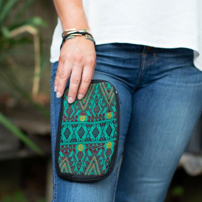 Zig Zag Wristlet Ethical Wallet Fair Trade Coin Bag Handmade