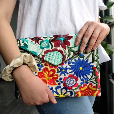 Fiesta Clutch, Women, Empower, Fair Trade, Handmade, Floral, Colorful, Bright, Handbag, Cosmetic, Shoulder Bag, Guatemalan, Purse
