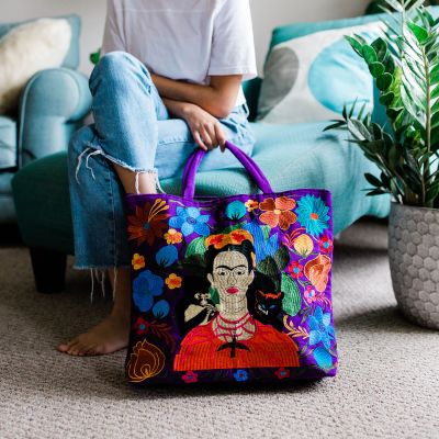 frida kahlo embroidered tote bag