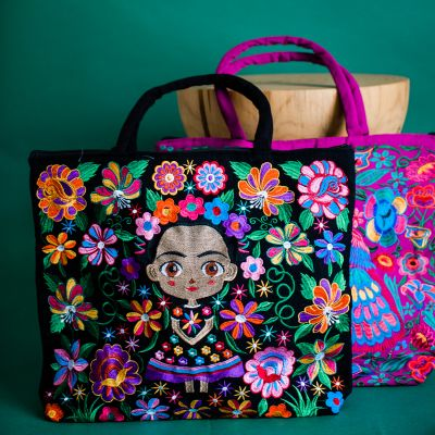 Baby Frida Kahlo embroidered tote bag Hand made Fair Trade