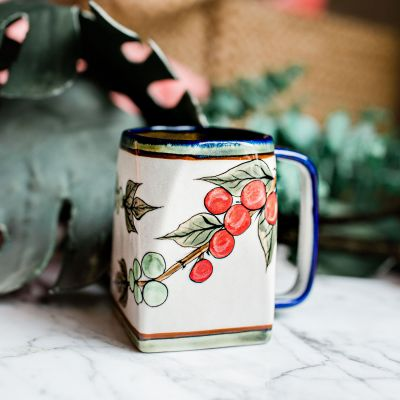 Lucia's Imports Wholesale Fair Trade Handmade Guatemalan Ceramic Cafe Coffee Mug with Bird Pattern
