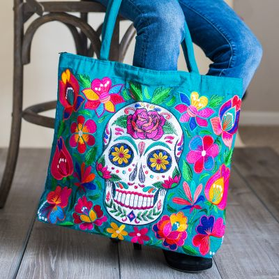 skeleton embroidered tote bag fair trade sugar skull
