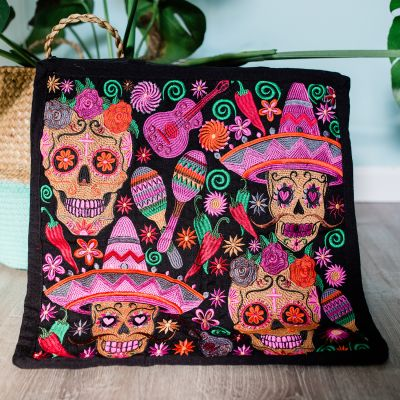 Lucia's Imports Wholesale Fair Trade Handmade Guatemalan Embroidered Skeleton Pillowcase