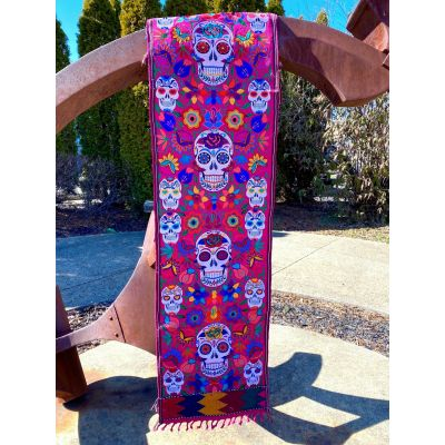 Lucia's Imports Wholesale Fair Trade Handmade Guatemalan Embroidered Skeleton Table Runner
